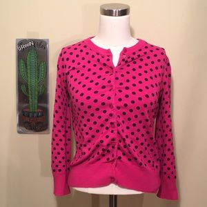 Cable & Gauge | Pink Polka Dot Button Cardigan